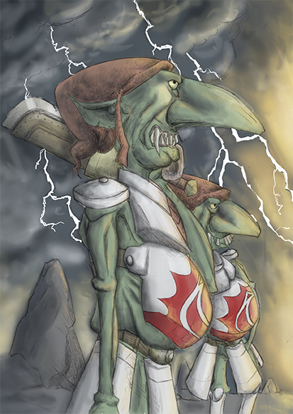 Fantasy-Illustration Goblins in Reih und Glied
